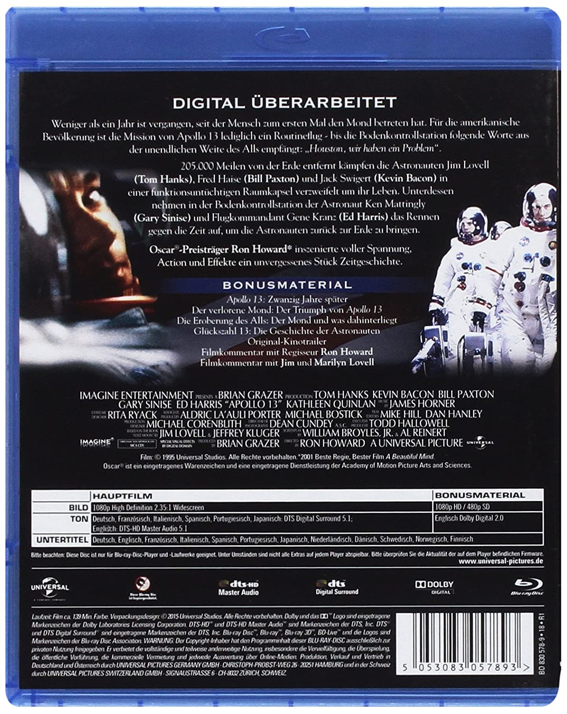 Apollo 13 - 20th Anniversary [Alemania] [Blu-ray]: Amazon.es: Tom Hanks, Kevin Bacon, Ed Harris, Kathleen Quinlan, Bill Paxton, Gary Sinise, ...