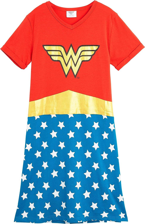 Idea Regalo per Bimba DC Comics Camicia da Notte Bambina Abbigliamento da Notte 7-14 Anni Pigiama in Cotone Super Hero Wonder Woman Pigiami Estivi Ragazza