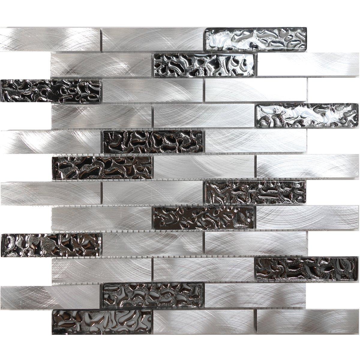 Modket TDH205MO Metallic Silver Stainless Steel Aluminum Metal Glass Mosaic Tile Brick Joint Pattern Backsplash