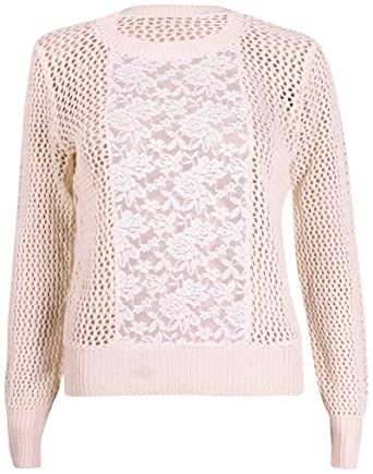 8a0b17c49da Womens Floral Lace Ladies Long Sleeve Round Neck Knitted Jumper ...