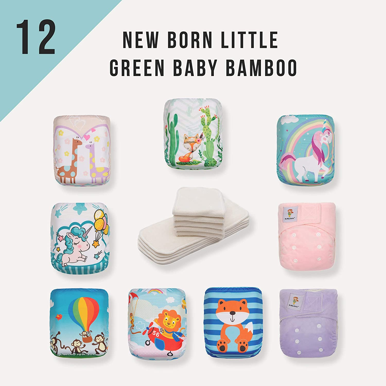 Newborn Diaper Pack! 12 KaWaii Little Green Baby Bamboo Cloth Diapers+24 Bamboo Inserts Luvyourbaby Products