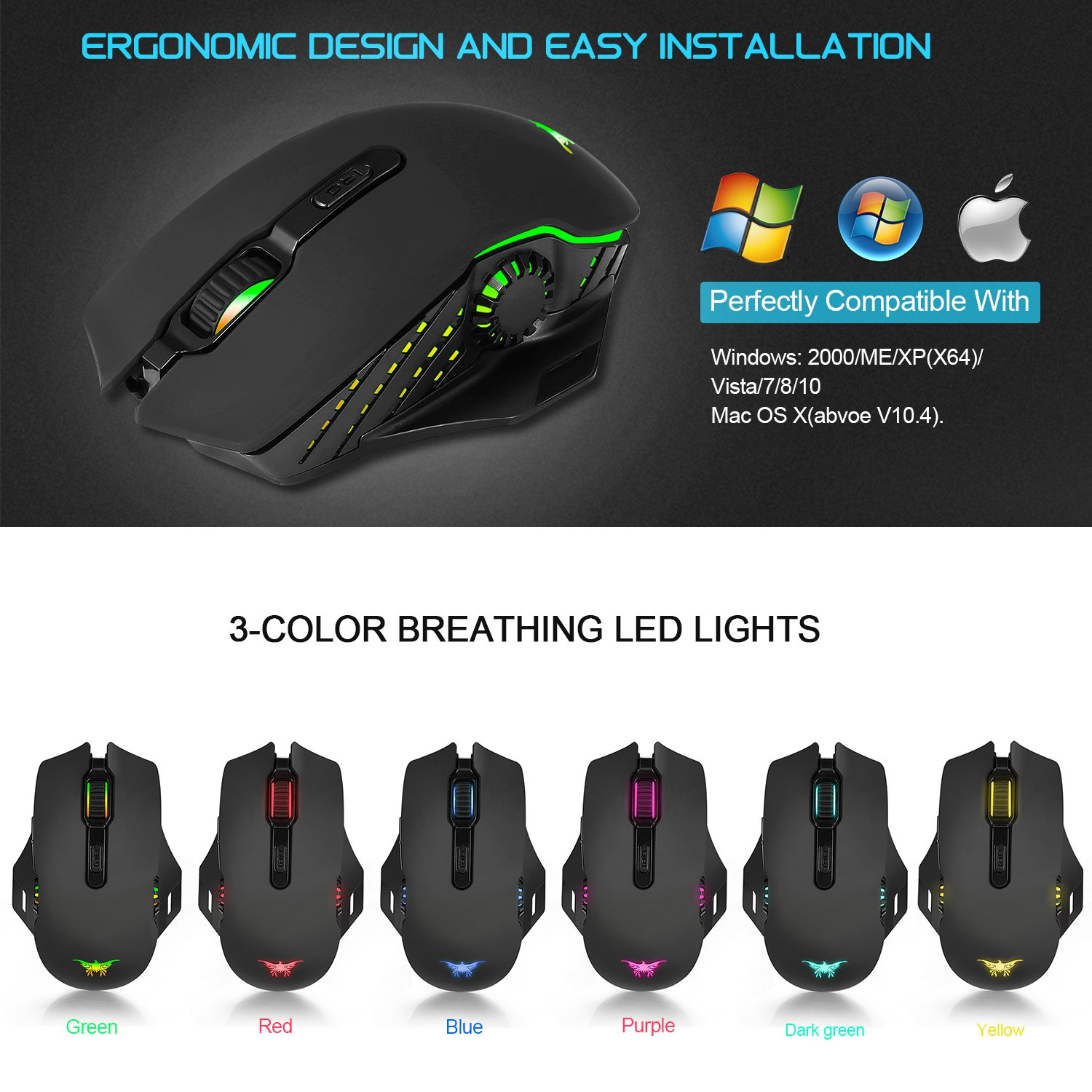 JinSun Rechargeable Laptop Wireless Gaming Mouse 2 in 1 Wireless & Wired Optical Mice with USB, 5 Buttons, 6 Colors Breathing Lights for PC and Mac, 6 Adjustable DPI Levels for Laptop Mac Pro and PC by JinSun (Image #4)