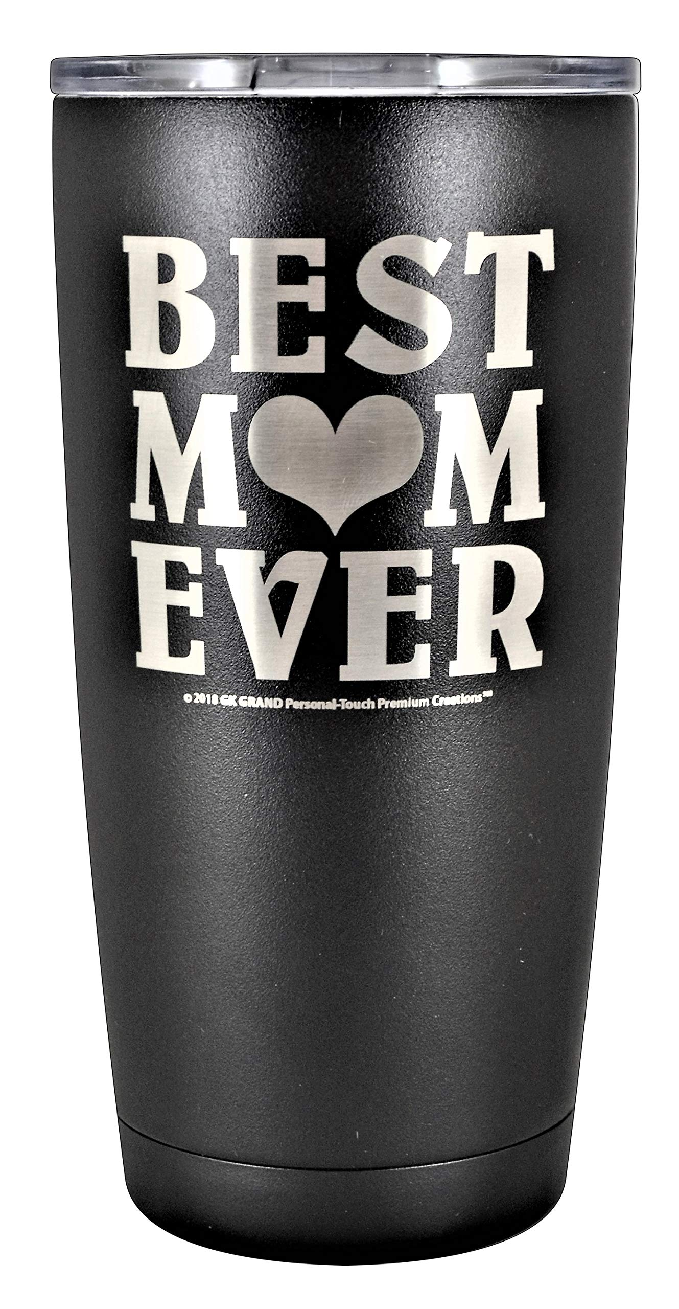 """GIFT MOM – """"BEST MOM EVER"""" GK Grand Personal-Touch Premium Creations Brand Engraved Stainless Steel Vacuum Insulated Tumbler 20oz Travel Coffee Mug Hot Cold Drink Christmas Birthday Mothers Day"""
