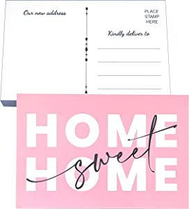 RXBC2011 Home Sweet Home Postcards We've moved cards Pack of 50 Pink