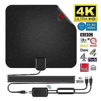 2019 más Reciente Antena de TV,Antena Interior HDTV con Portatil Amplificador, 60-80 Millas Gama de Recepción, Obtenga Muchos Canales de TV Gratis, ...