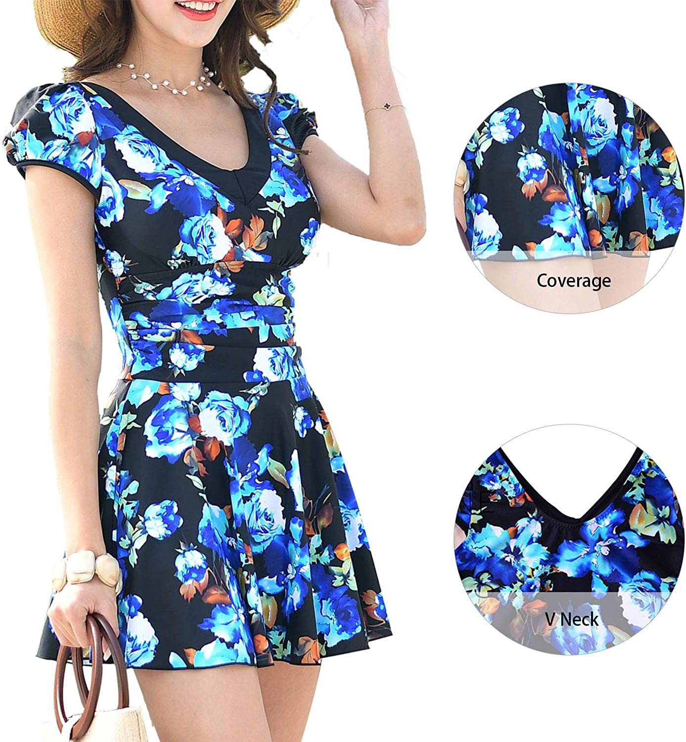 Ecupper Womens Floral Printed Swimdsuit V Neck Swimwear Bathing Suit with Short Sleeve