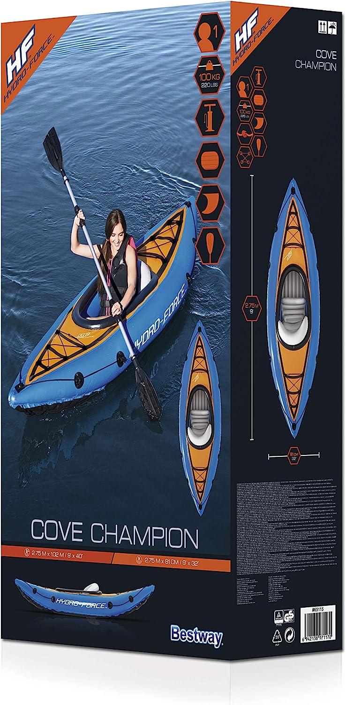 Color Bestway 65115 Hydro-Force aufblasbares Kajak Cove Champion mit Paddel 275 x 81 x 45 cm