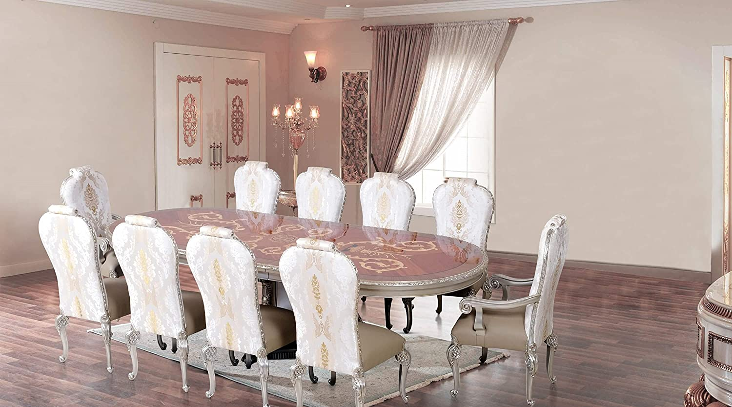 Amazon Com European Furniture 11 Pieces Bellagio Luxury Dining Set Table Chair Sets