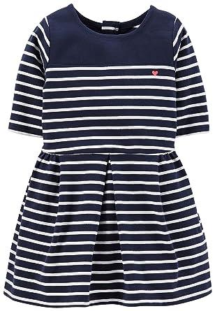 3e2df9378495 Amazon.com  Carters Toddler Girls Stripe Dress 4T Navy blue  Clothing