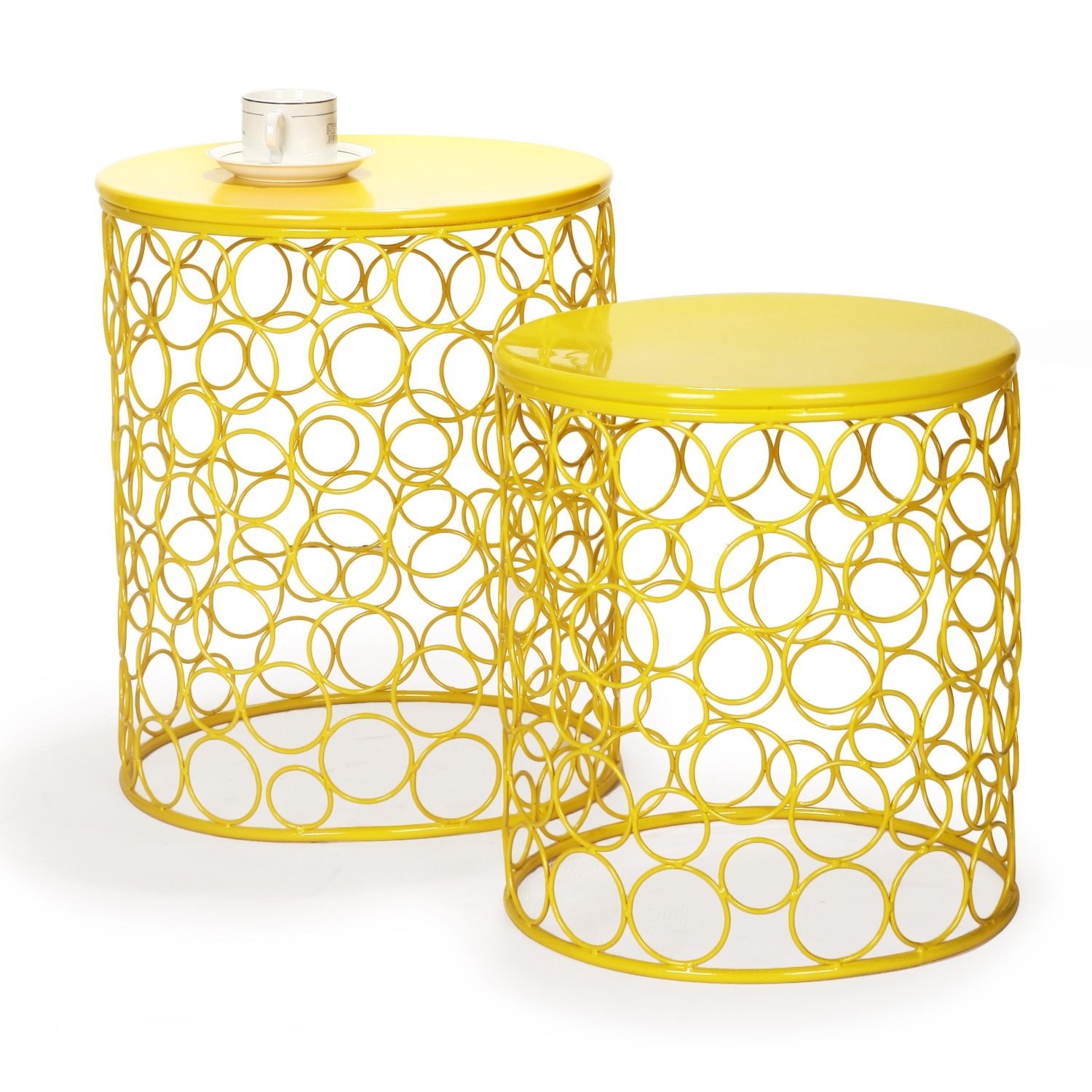 Adeco Home Garden Accents Circle Wired Round Iron Metal Nesting Stool Side End Table Plant Stand Bubble Pattern Set of Two CH0148 Olive Drab Green for Indoor Outdoor