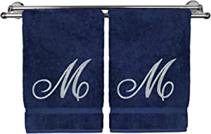 Monogrammed Hand Towel, Personalized Gift, 16 x 30 Inches - Set of 2 - Silver Embroidered Towel - Extra Absorbent 100% Turkish Cotton- Soft Terry Finish - for Bathroom, Kitchen and Spa- Script M Navy