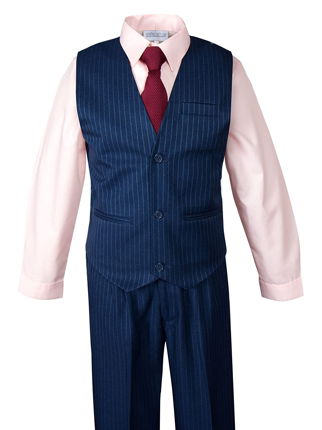 b70270bd8d8cc Amazon.com: Spring Notion Boys' Pinstripe Blue Suit with Knit Tie and Satin  Handkerchief: Clothing