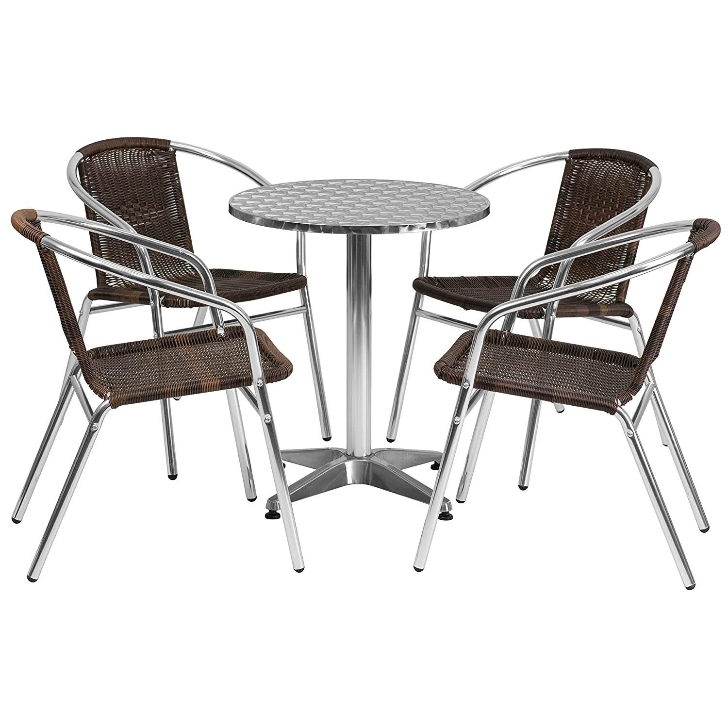 Flash Furniture 23.5 Round Aluminum Indoor-Outdoor Table Set with 4 Dark Brown Rattan Chairs
