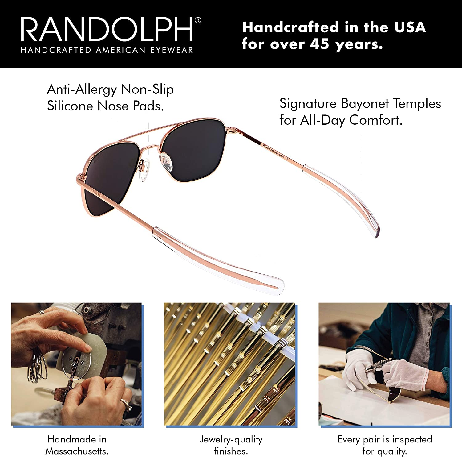 Brand New Randolph Aviator Replacement Temples