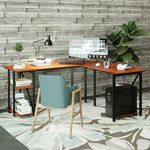 L Shaped Desk DEWEL Reversible L Desk Corner Gaming Computer Desk 59''X66'' Large PC Latop Study Table Writing Workstation