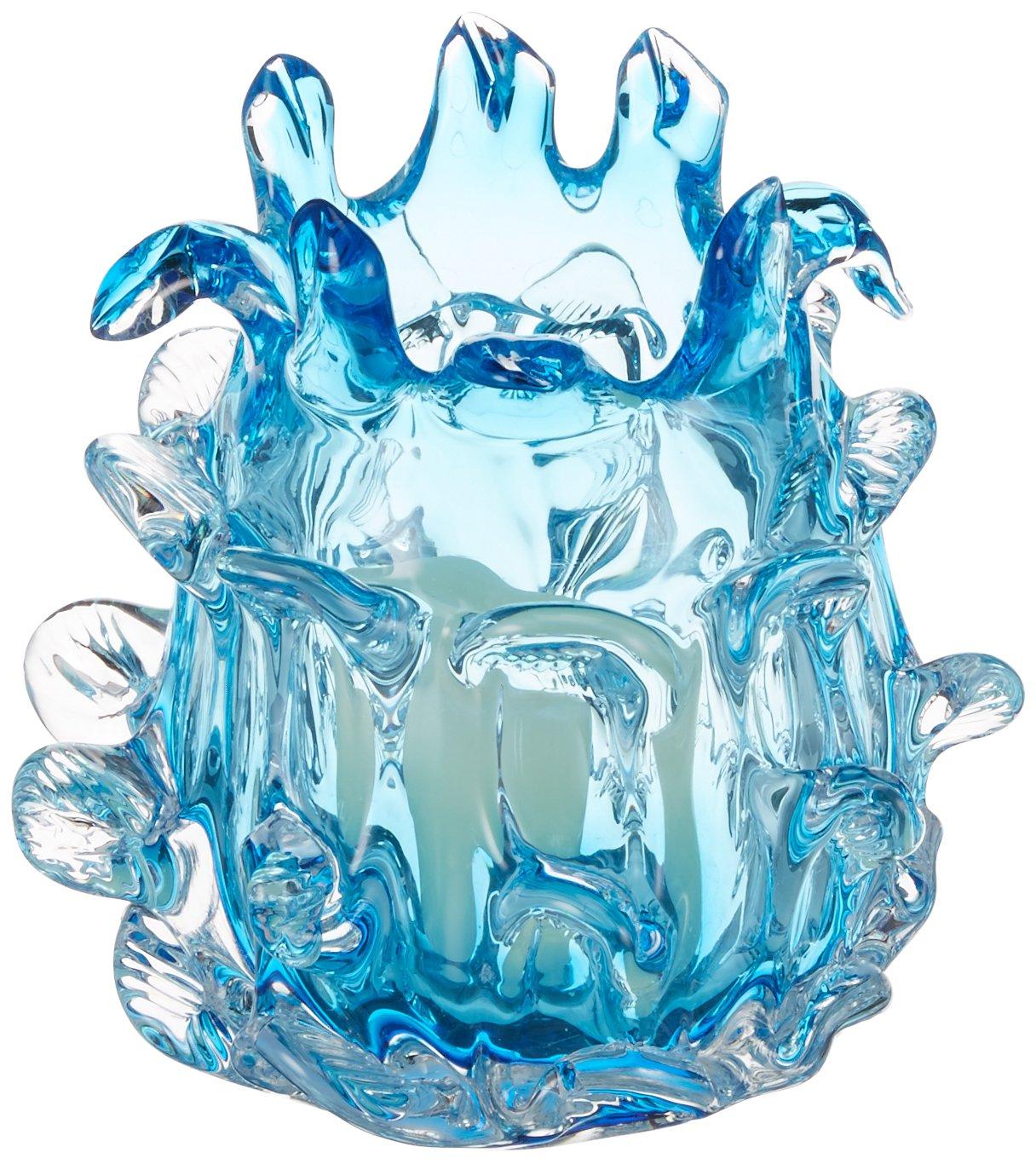OK Lighting Aqua Blue Glass Candleholder
