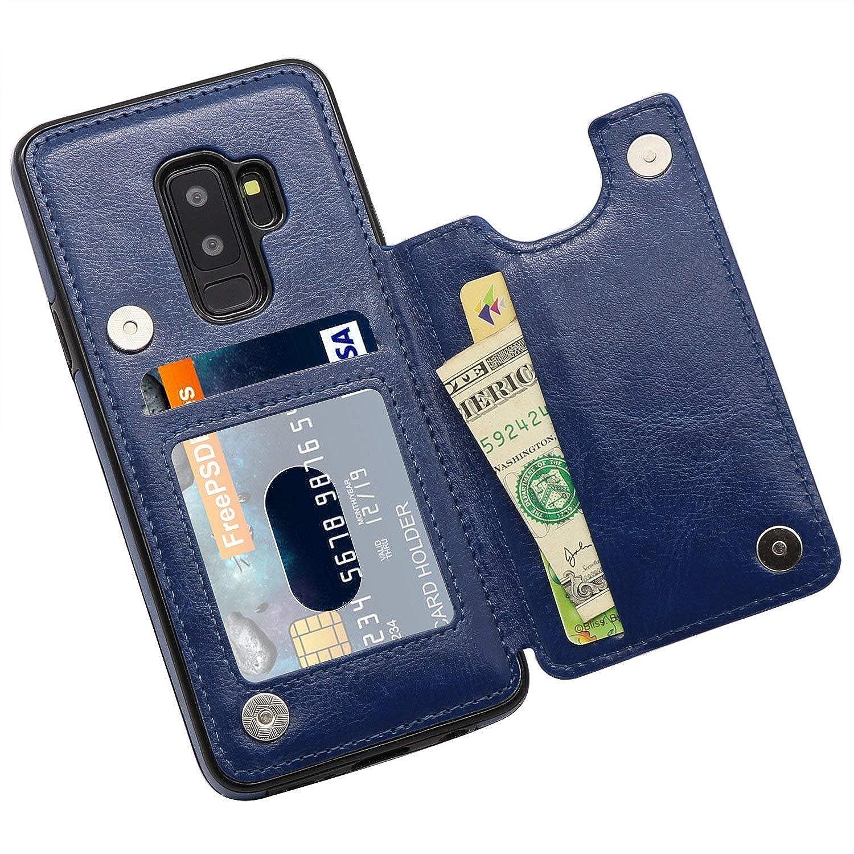 Ruida -eur Galaxy S9 Plus Hülle, Galaxy s9+ Handyhülle, PU Leder Flip Case, TPU mit Kartenfach Ledertasche Zurück Schutzhülle mit Standfunktion Lederetui Wallet Etui Cover Galaxy S9 Plus Hülle Galaxy s9+ Handyhülle Blau)