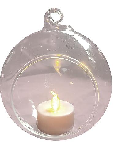 Juego de 6 Colgantes Plantas de cristal bola – Portavelas para vela de té transparente Dia