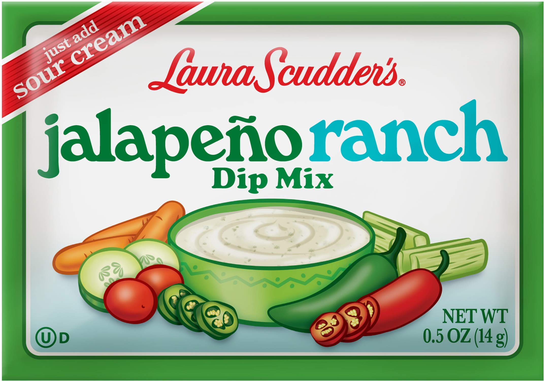 Laura Scudder's Jalepeno Ranch Dry Dip Mix, Great For Vegetables, Chips, Sauces and Seasoning (Pack of 24) by Laura Scudder's