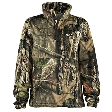 dc792228eaac7 Amazon.com  Mossy Oak Women s Performance Quarter Zip Camo Pullover for  Hunting and Casual Wear in Break-Up Country   Bottomland  Clothing