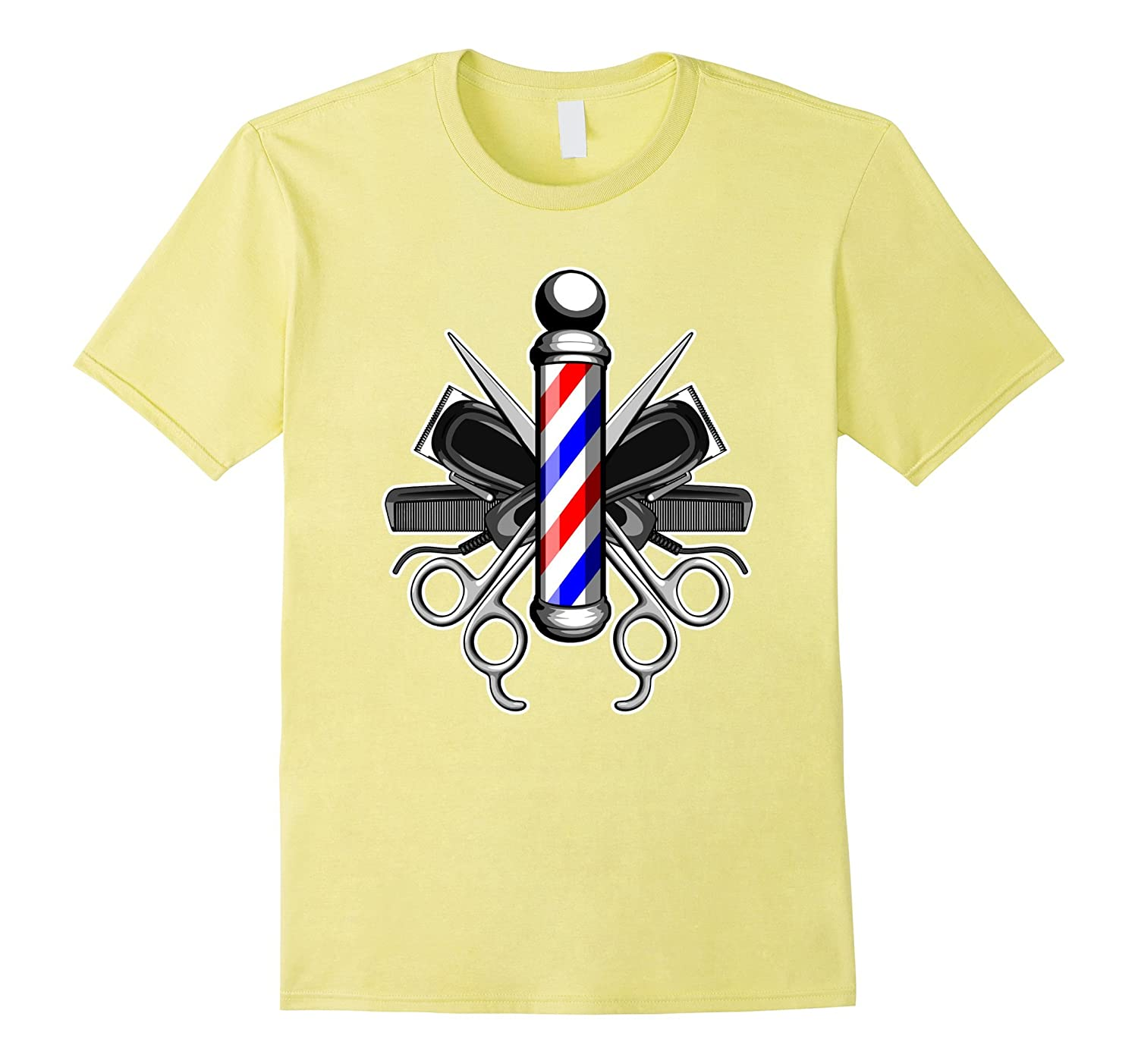 Barbers Pole With Crossed Scissors and Hair Clippers T-Shirt-CL
