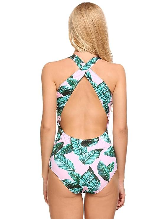 Ncient Maillot de Bain Une Piece Imprimé Sexy pour Femme, Takini Push Up Volantées Dos Cross Swimwear Plage
