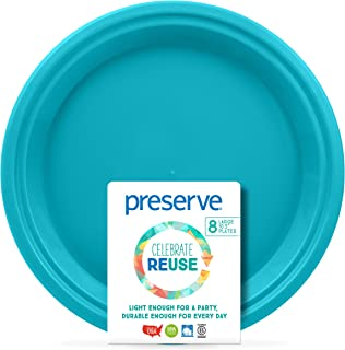 product image for Preserve Go Lightweight BPA Free Large Dinner Plates Made from Recycled Plasti Kitchen Supplies, Aqua