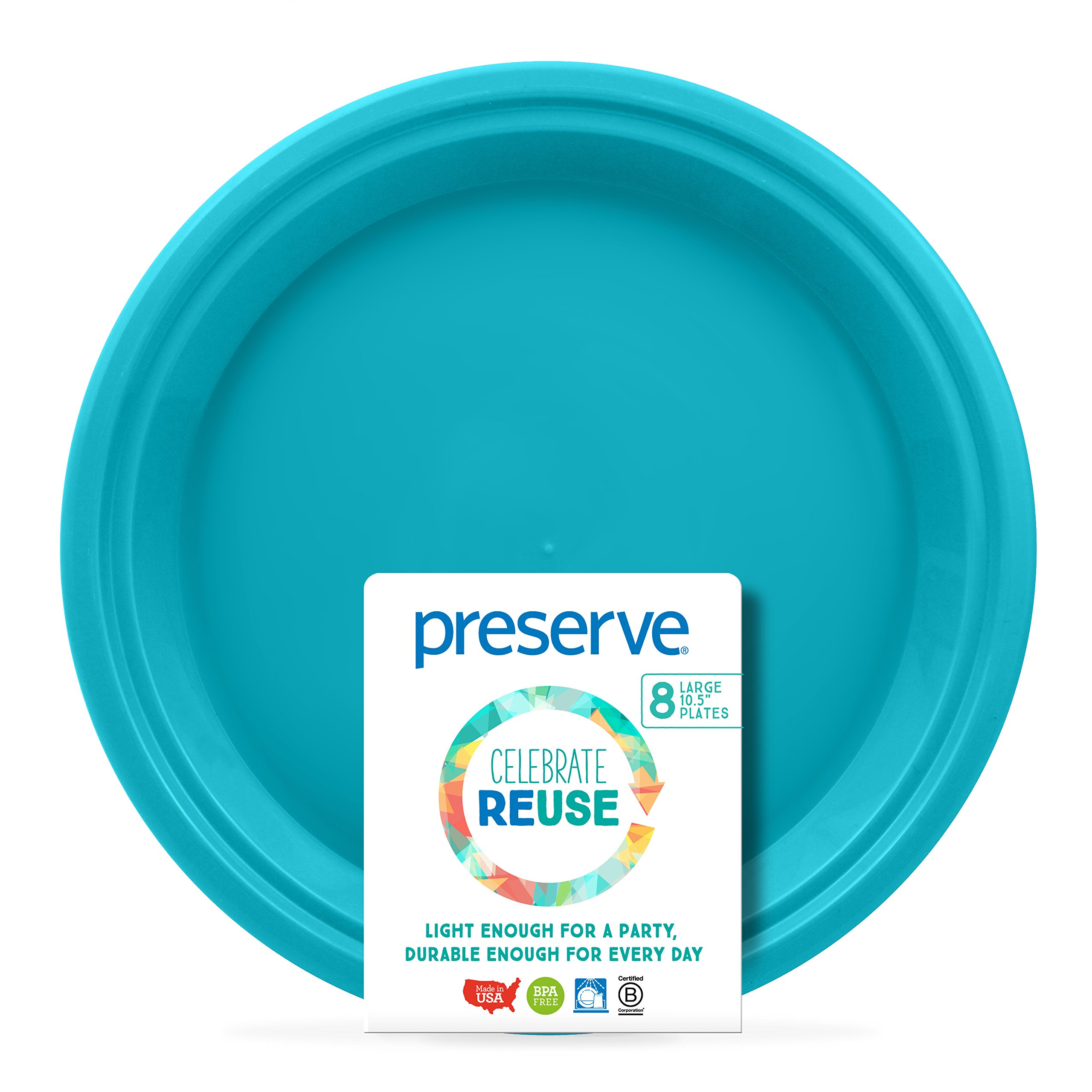 Preserve On the Go Plates (Set of 8), Aqua, Large
