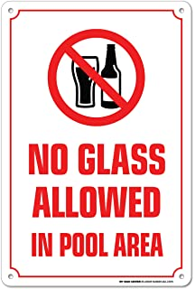 86887bd4e919 No Glass Allowed in Pool Area Warning Sign - Swimming Pool Safety - Pool  Rules -