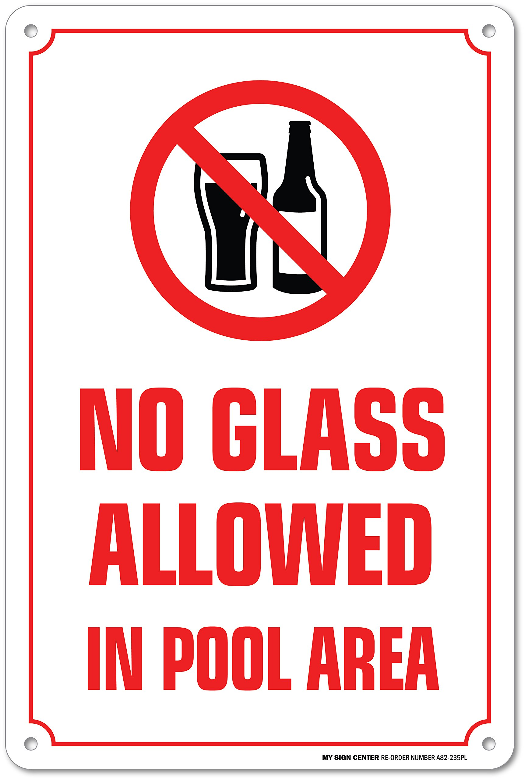 No Glass Allowed in Pool Area Warning Sign - Swimming Pool Safety ...