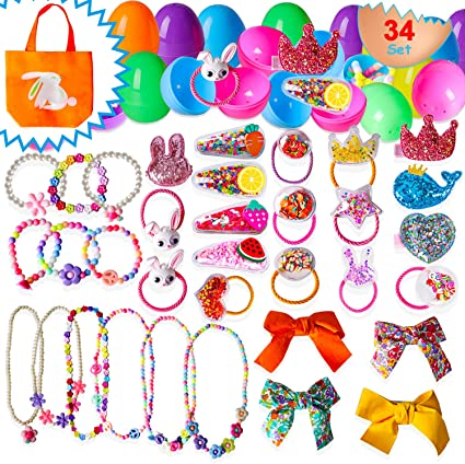 34 Pcs Easter Basket Stuffers For Toddlers Girls with Hair Clips Ties Accessories, Necklace, Bracelets Toys Bulk Easter Basket Stuffers Filler, Eggs Hunt, Decorations Dress Kit, Party Favors, Gifts
