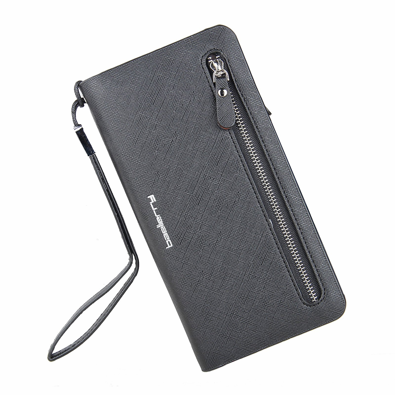 Leather Wallet RFID Blocking Zipper Purse Checkbook Card Holder Organizer Black