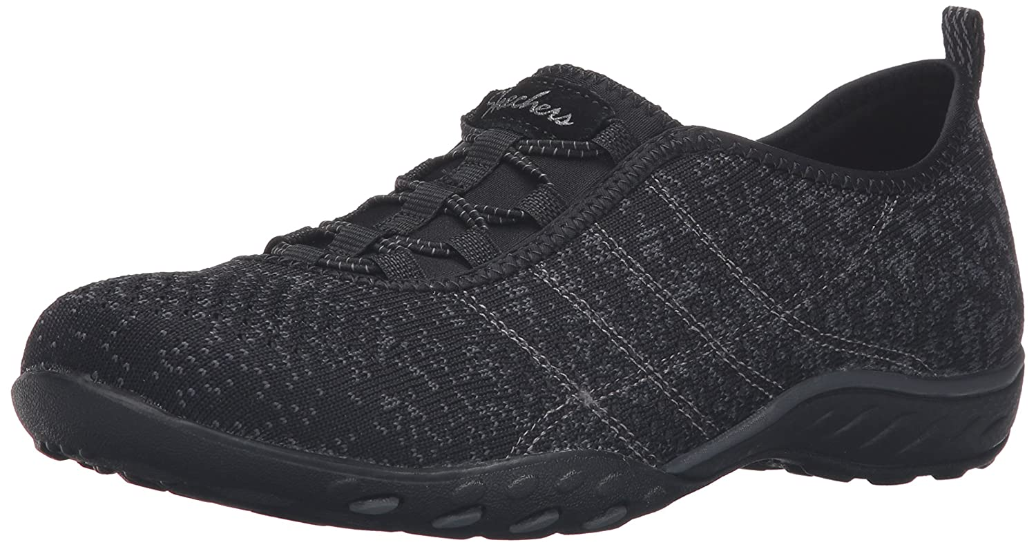 Black Charcoal Mesh Trim Skechers Women's Breathe-Easy - FORTUNEKNIT shoes
