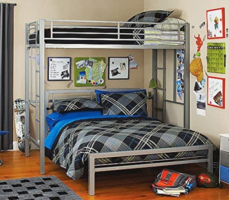 Bed Metal Frame for Kids Bedroom, Teenager and Dorm. (Color: Silver, Size:  full (It is the bed under the loft bed)