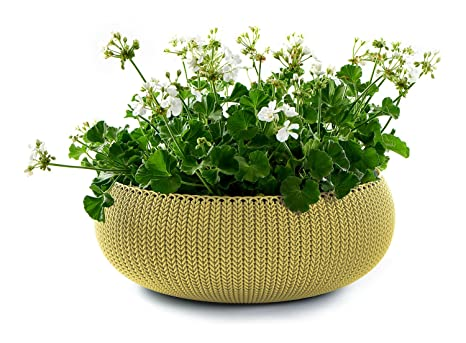 Keter Cozies Large Plastic Knit Texture 21u0026quot; Planter Bowl With  Removable Liner, Citrus Green