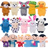 Jovitec 16 Pieces Finger Puppets Different Family and Animal Style Cartoon Finger Puppets for Kids Cute Velvet Soft Animal Finger Puppets Baby Story Time