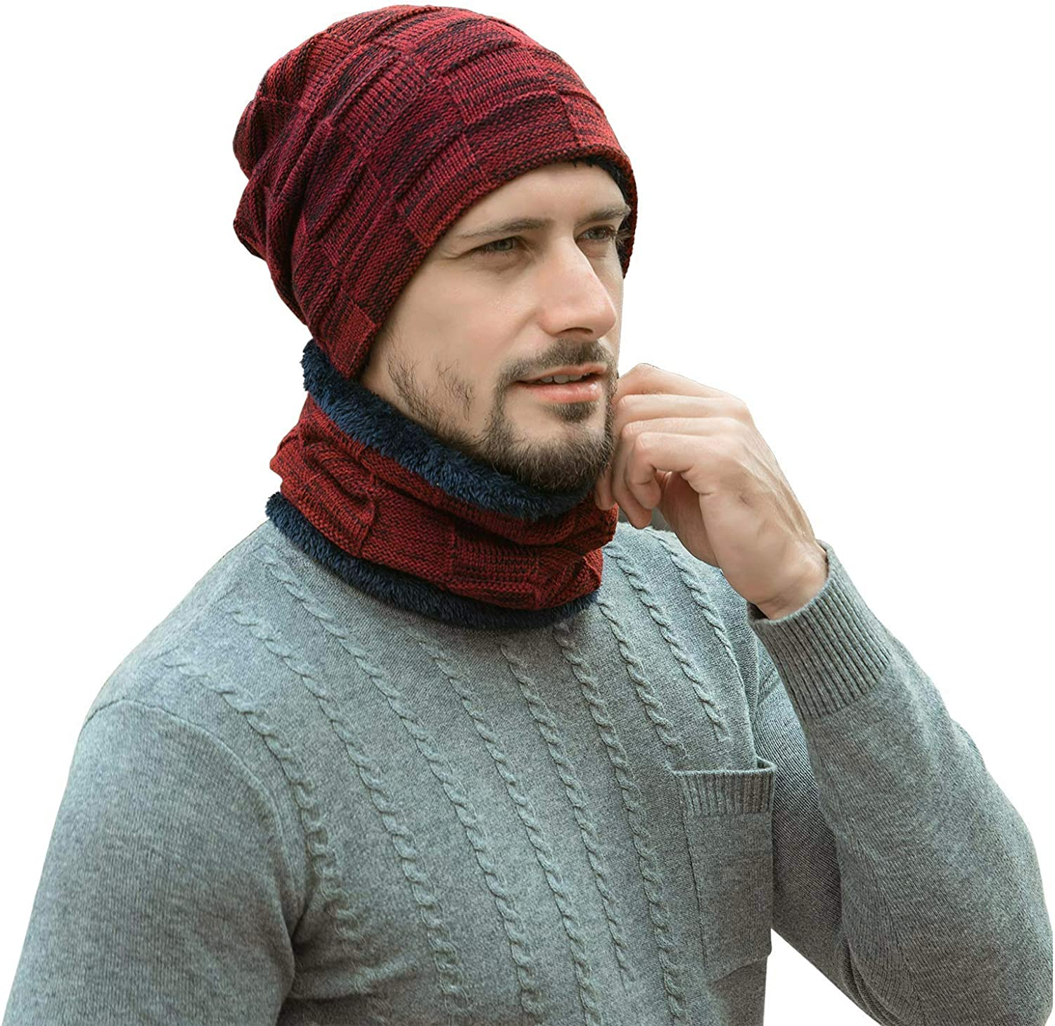 Leijos 2-Pieces Winter Beanie Hat Scarf Set Warm Knit Hat Thick Fleece Lined Winter Hat /& Scarf for Men Women