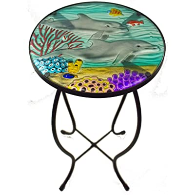 Jaco of America, Inc. Glass Top Hand Painted Nautical Outdoor Accent Side Round Table (Dolphin): Kitchen & Dining...