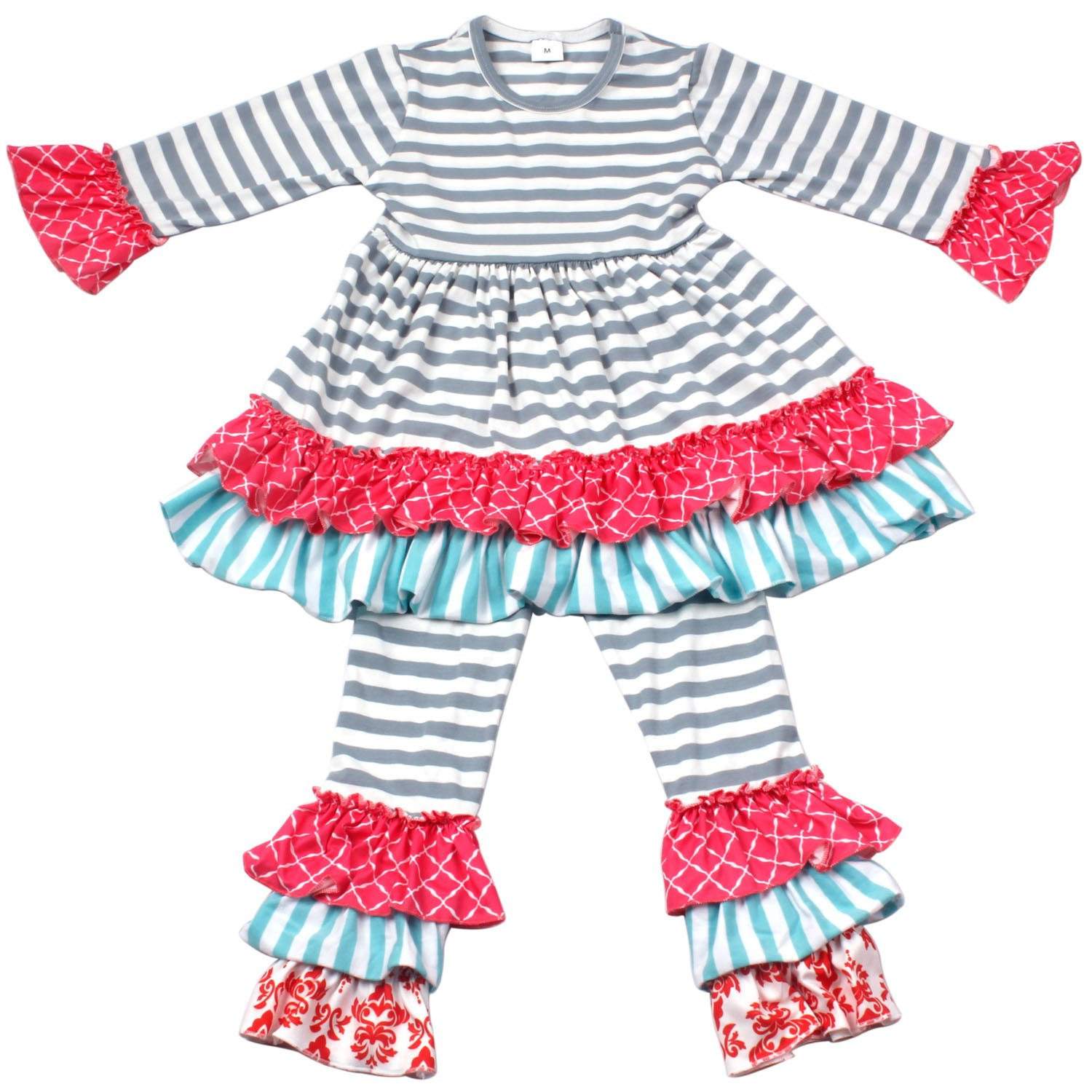 Qliyang Baby Girls Ruffle Dress Pants Holiday Clothing Outfits Kids Striped Dress