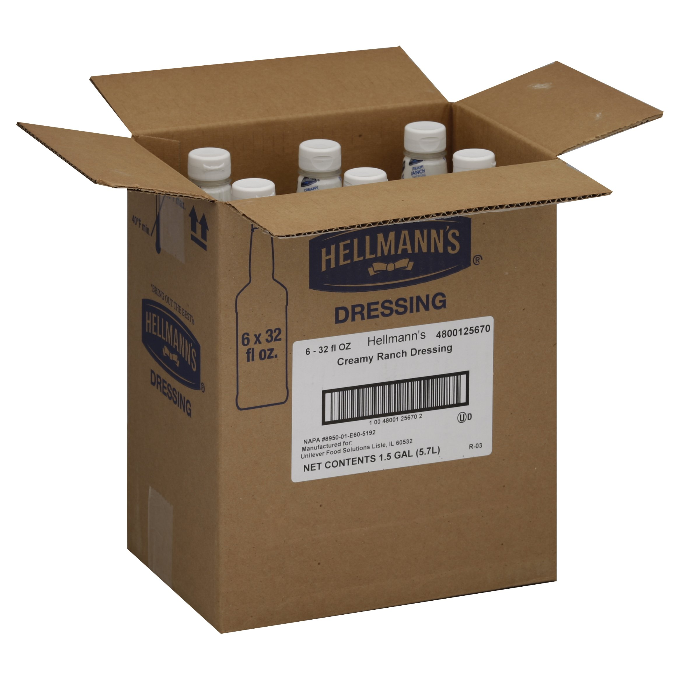 Hellmann's Foodservice Salad Bar Bottles Creamy Ranch 192 oz