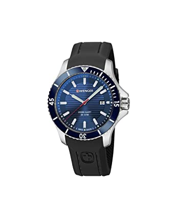 Wenger Mens Seaforce Swiss Quartz Stainless Steel and Silicone Casual Watch, Color: