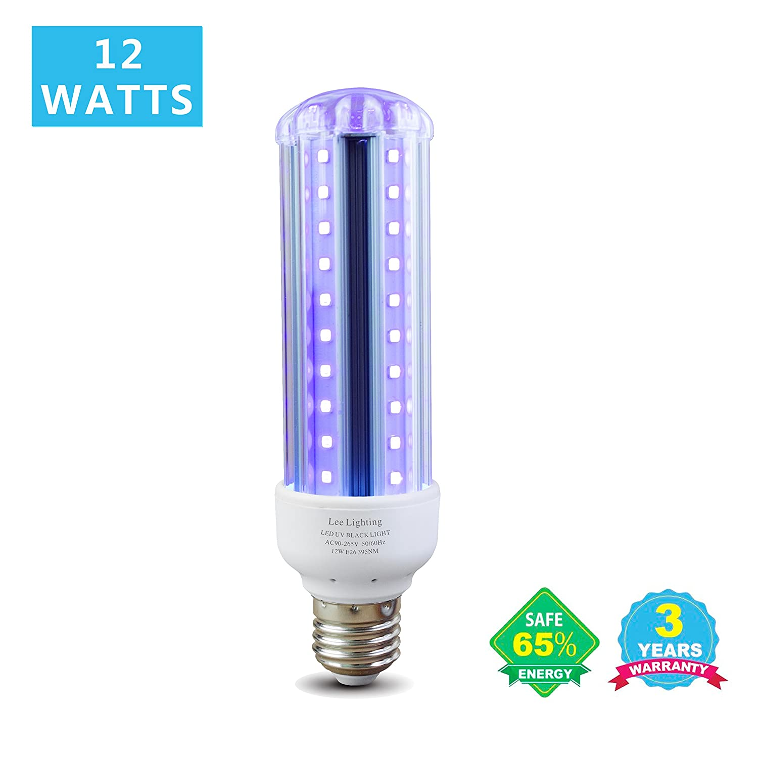 Blacklight Bulb, Lee Lighting 12W LED UV Ultraviolet Blacklight AC90-265V