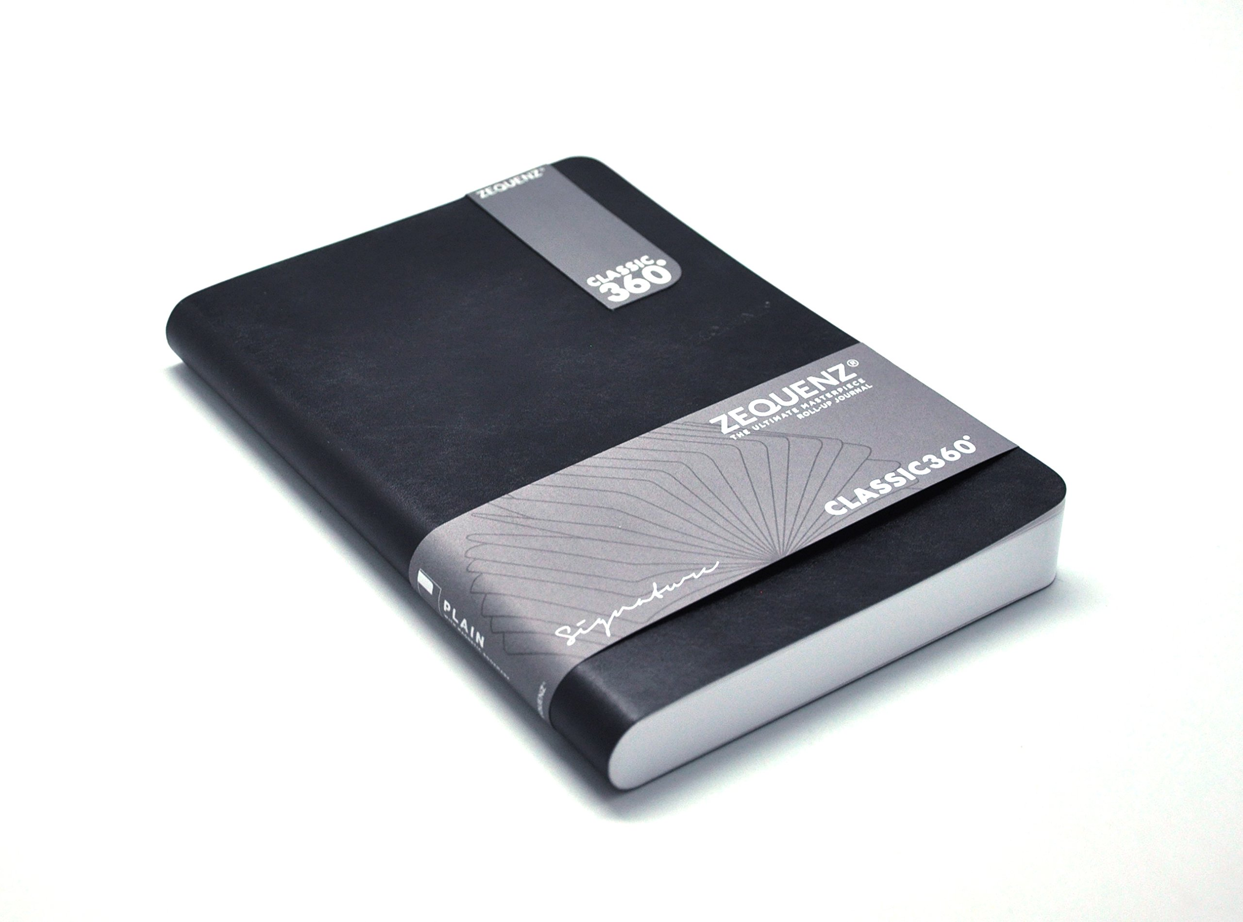 Zequenz Classic 360 Soft cover Notebook, Soft Bound Journal,  Large, Black, 5.75'' x 8.25'', 200 sheets / 400 pages, Squared, Graph, Grid Pattern Premium Paper