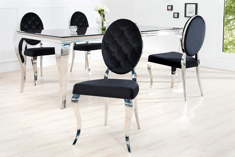 Stile Barocco In Velluto Colore Nero Argento Sedia Da Sala Da Pranzo Dunord Design Sedie Sala Da Pranzo