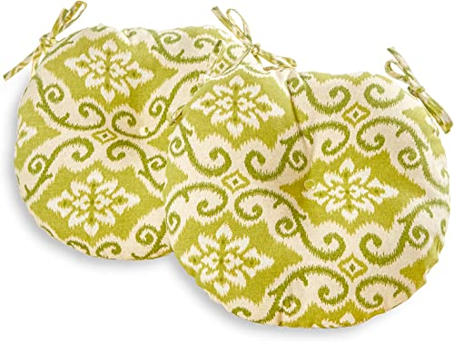 South Pine Porch AM5816S2-SHOREHAM Shoreham Green Ikat 15-inch Round Outdoor Bistro Chair Cushion