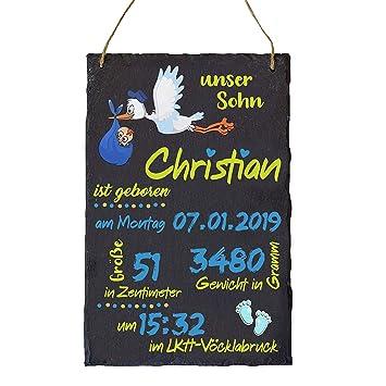 für MÄDCHEN /& Jungen Schieferstein 30cm x 20cm Geburtsteller Geburtstafel