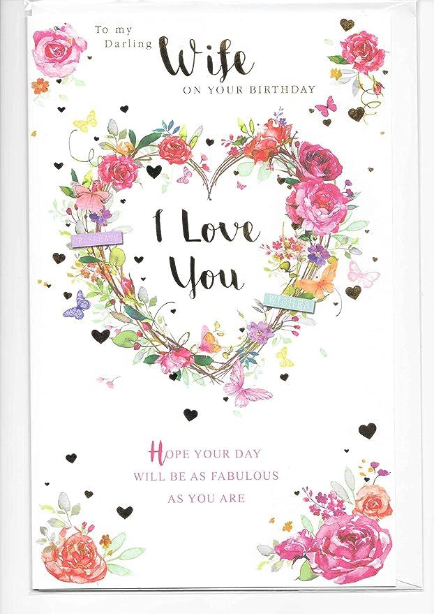 Tarjeta de felicitación de cumpleaños para mi querida esposa, 17 x 27 cm, diseño con texto en inglés