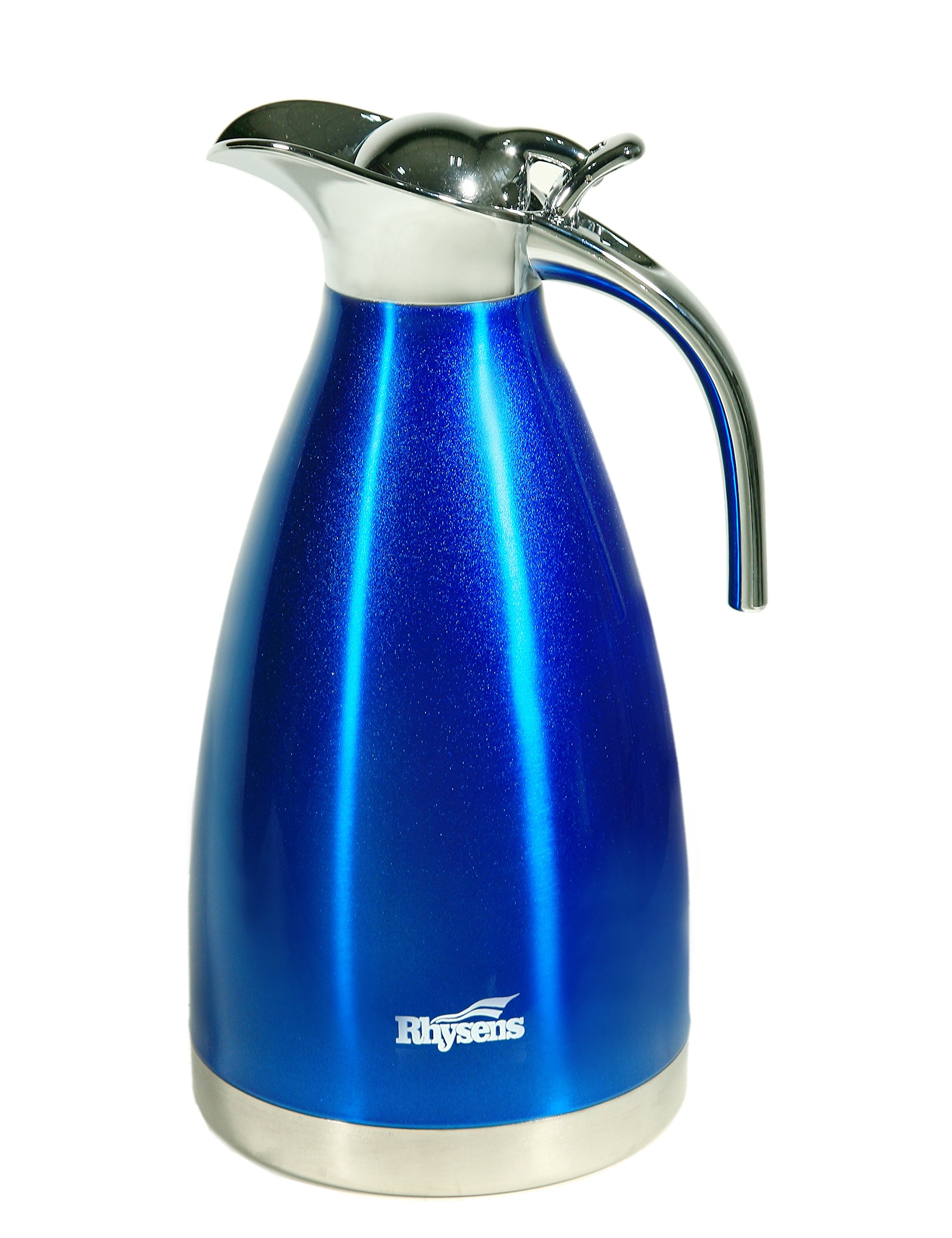 Rhysens 68oz Colored Stainless Steel Vacuum Insulated Thermos Carafe/Water Pitcher (Blue)