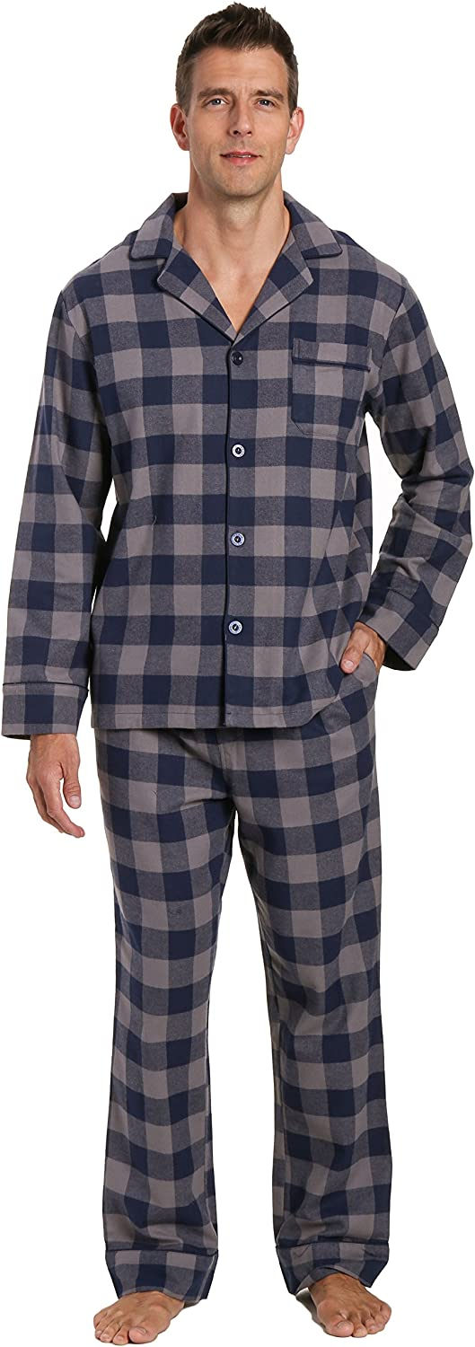 Noble Mount Mens 100% Cotton Flannel Pajama Set with Pant Pockets & Drawstring