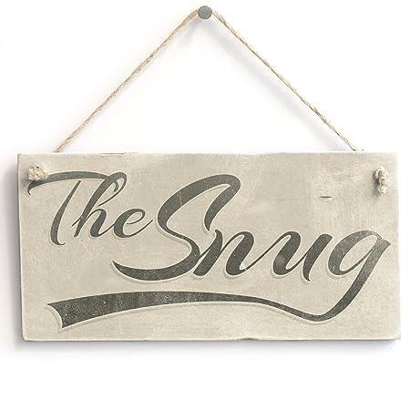 The Snug - Handmade Shabby Chic Hanging Wooden Door Sign / Plaque ...